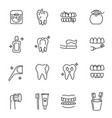 collection dental care monochrome icons linear vector image