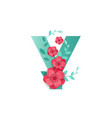 color letter y with beautiful flowers vector image vector image