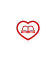 creative heart love book logo vector image vector image