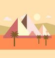 desert egypt pyramids sunset flat vector image vector image