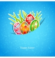 Easter blue background with egg and grass vector image vector image