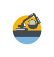 Excavator Digger Handling House Circle Retro vector image vector image