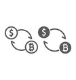 exchange line and glyph icon bitcoin vector image