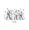 family autumn park people tree concept vector image vector image