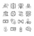 fintech line icon set vector image vector image