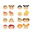 Flat cartoon children faces collection