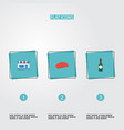 flat icons alcohol restaurant cap and other vector image