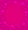 Frame border shaped from pink heart on deep pink vector image vector image