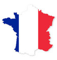 france map in flag with shadow on white background vector image