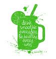Green smoothie in mason jar silhouette