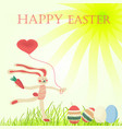 greeting card with easter with hand-drawn bunny vector image