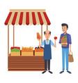 grocery business cartoon vector image vector image