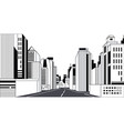 highway asphalt road city skyline modern buildings vector image vector image