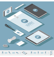 isometric branding blue vector image vector image