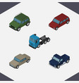 isometric car set of suv armored car and other vector image vector image