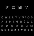 linear font white on black background vector image