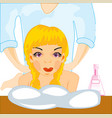 making look younger and beautiful girl on massage vector image vector image