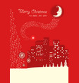 merry christmas card on red moon night vector image