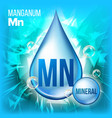 mn manganum mineral blue drop icon vector image vector image