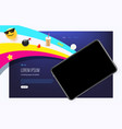 modern trendy landing page with modern gadget vector image vector image