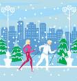 nordic walking in winter vector image