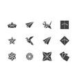 origami flat glyph icons set paper cranes bird vector image