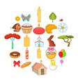 paschal icons set cartoon style vector image vector image