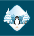 penguin on snow background vector image