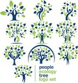people ecology tree logo set vector image