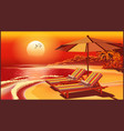 picturesque beach umbrella and deck chairs at vector image
