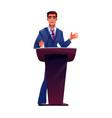 politician at podium tribune speaks microphone vector image
