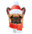 realistic dog bulldog christmas composition vector image vector image
