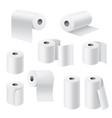 realistic paper rolls 3d white towel toilet vector image vector image