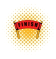 Red ribbon in finishing line icon comics style vector image vector image