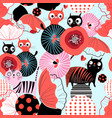 seamless floral pattern with lovers cats vector image vector image