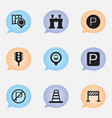 set of 9 editable direction icons includes vector image vector image