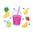 set of drink and fruits vector image vector image