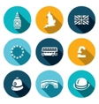 Set of United Kingdom Icons Tower clock vector image vector image