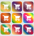 shopping basket icon Nine buttons with bright vector image