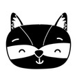 silhouette smile accoon head wild animal vector image vector image