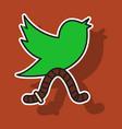 sticker unusual look tweet bird logotwitter icon vector image vector image