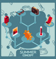 summer color concept isometric icons vector image vector image