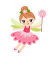 the fairy is cast on a white background and holds vector image