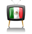 The flag of Mexico inside the TV screen vector image