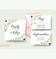 wedding floral watercolor style cards design set vector image vector image