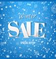 winter sale poster with snow and blue background vector image vector image