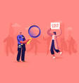 woman with lost banner in crowded place policeman vector image
