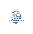 yacht sailing line icon concept yacht sailing vector image vector image