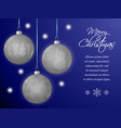 christmas card or horizontal banner with silver vector image