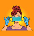 a woman wearing medical gloves and mask vector image